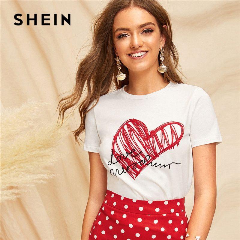 SHEIN dames Simple col rond imprimé graphique t-shirt d'été décontracté minimaliste à manches courtes lettre femmes t-shirt hauts