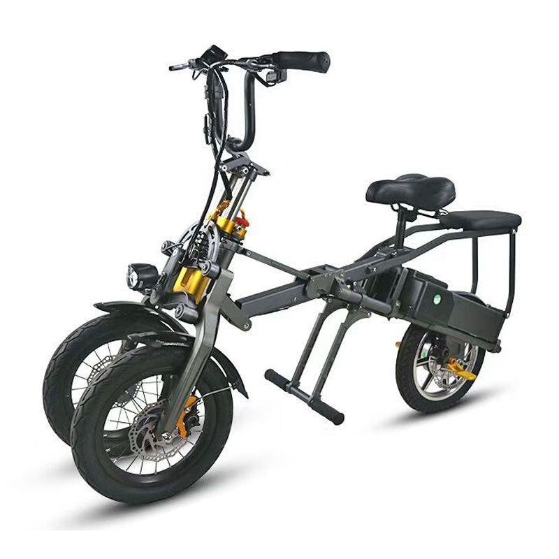 Eine taste schnelle faltung elektrische fahrrad drei-rädern elektrische fahrrad doppel batterie mode eltern-kind-kappe kind Reise fahrrad
