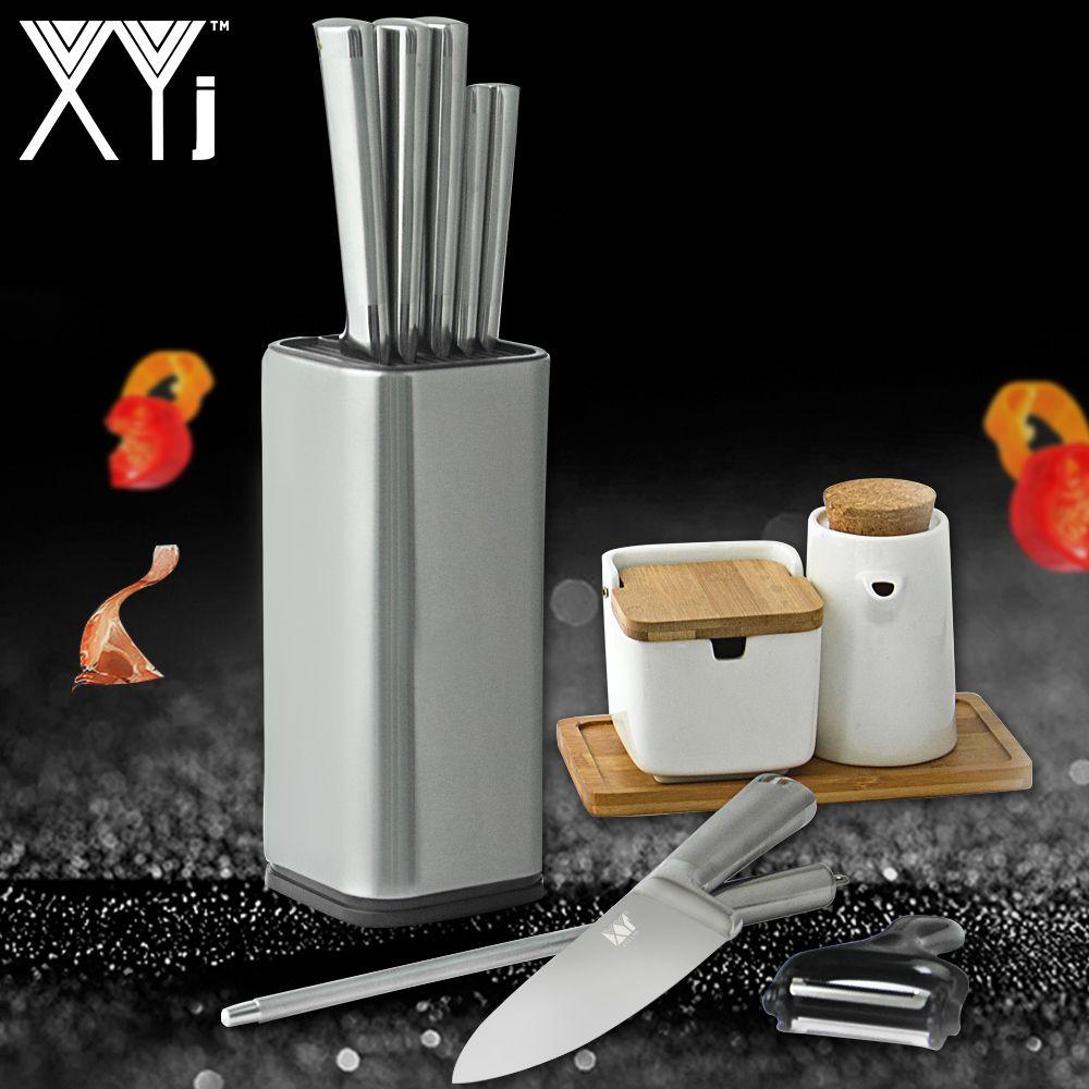 XYj acier inoxydable cuisine couteau support outil support multifonctionnel outil titulaire 8 couteau bloc Sooktops Tube étagère Chromophous