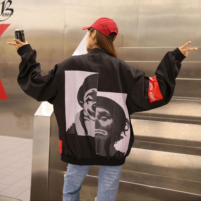 Autumn Spring Women Joker Coats Hip Hop Black Jackets