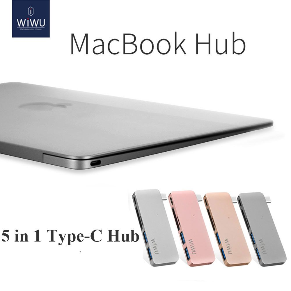 WIWU Thunderbolt USB 3.0 for Macbook Pro Air Type C Hub 5 in 1 USB Hubs Notebook Computer Cable for Macbook 12 Hub Connector USB
