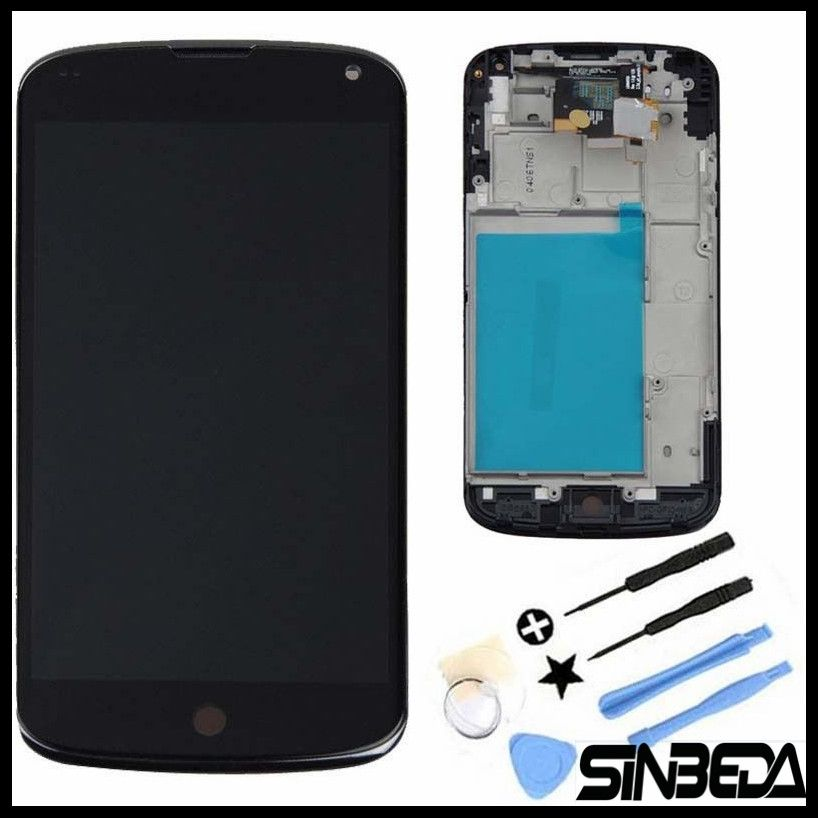 Sinbeda High Quality LCD Display For LG Google Nexus 4 Optimus E960 LCD Display + Touch Screen Digitizer with Bezel Frame