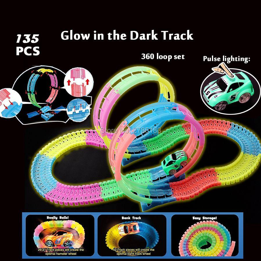 Гибкий сборки треков системы 360 трюк Loop действий красочные, яркие светиться в темноте светится гоночной трассе с импульсным освещения автом...