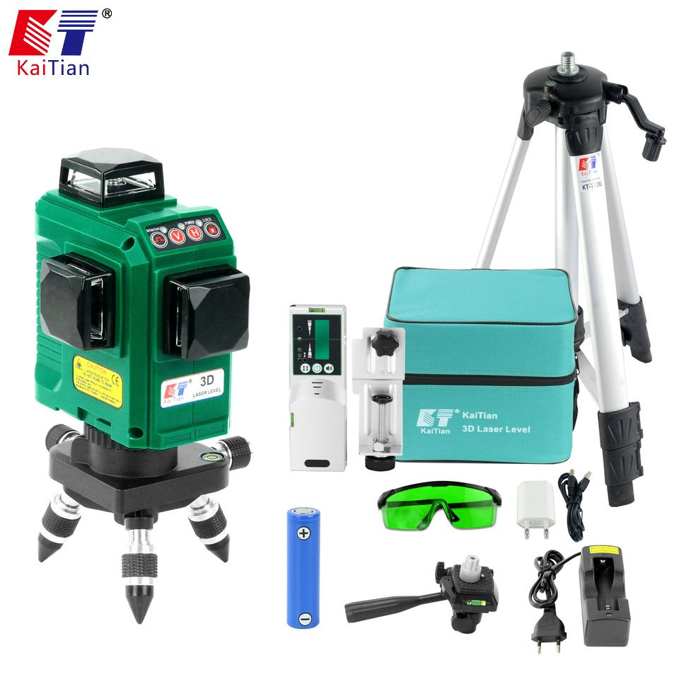 KaiTian 12 Lines 3D Laser Level Receiver Self-Leveling Horizontal 360 Vertical Cross Super Powerful Green Laser Tripod Beam Line