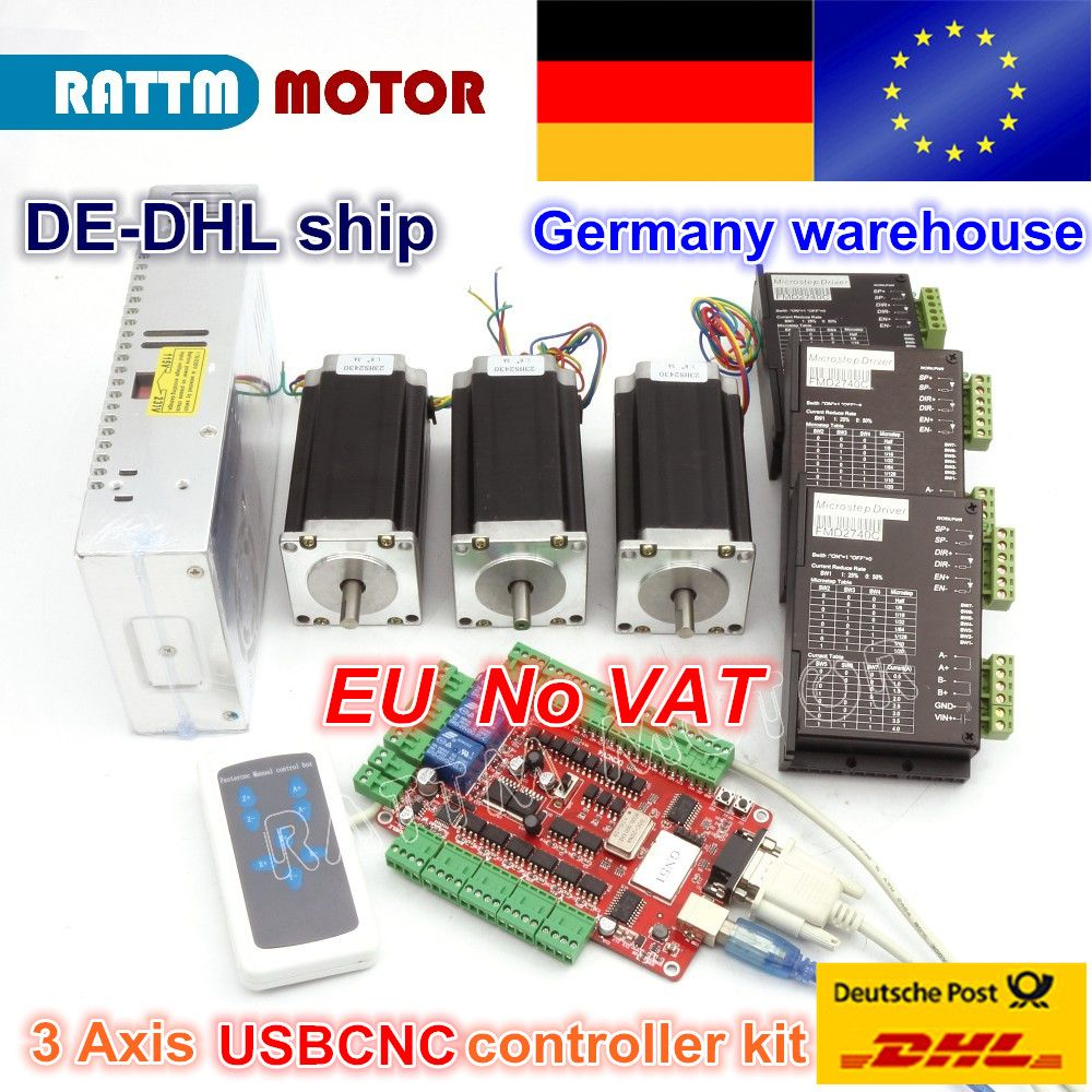 From DE/free VAT warehouse 3 aixs USBCNC NEMA23 425oz-in,112mm,3A (Dual shaft ) stepper motor & 2740C DRIVER CONTROLLER CNC kit