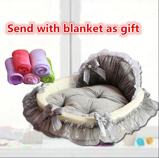 Princess/Prince Soft Pet Dog Bed Cat Bed House Sofa Mat Cushion Kennel With Blanket Ribbon Bow More Colors Sleeping Bag