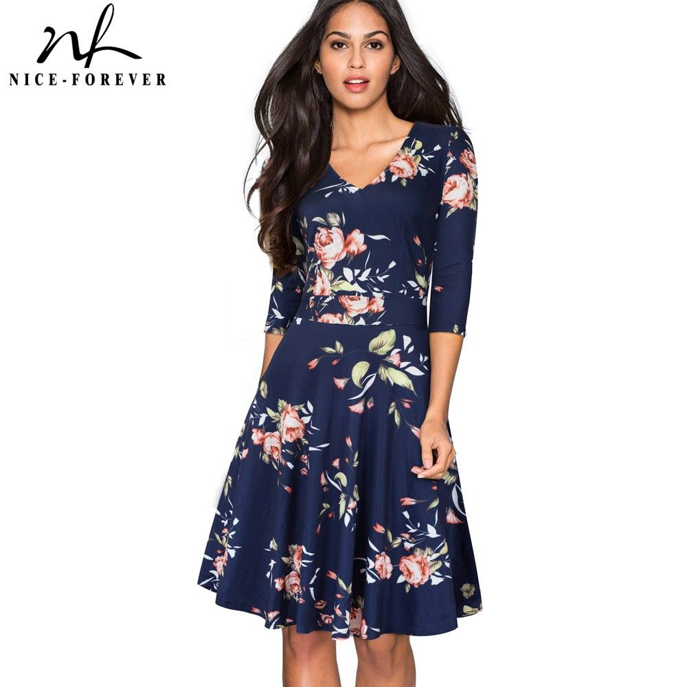 Nice-forever Vintage Black Flower Elegant Lace Ruffle vestidos See Through Sleeve A-Line Pinup Business Women Flare Dress A062