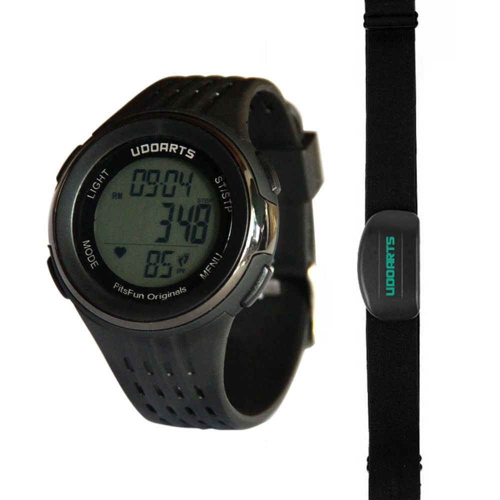 Udoarts HRM with Pedometer- Heart Rate Monitor Watch & Chest Strap 2 &Pack of 5 Batteries &Screwdriver