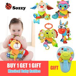 Sozzy Multifungsi Mainan Bayi Mainan Kerincingan Ponsel Katun Lembut Bayi Dorong Stroller Mobil Tempat Tidur Mainan Gantung Hewan Plush Mainan