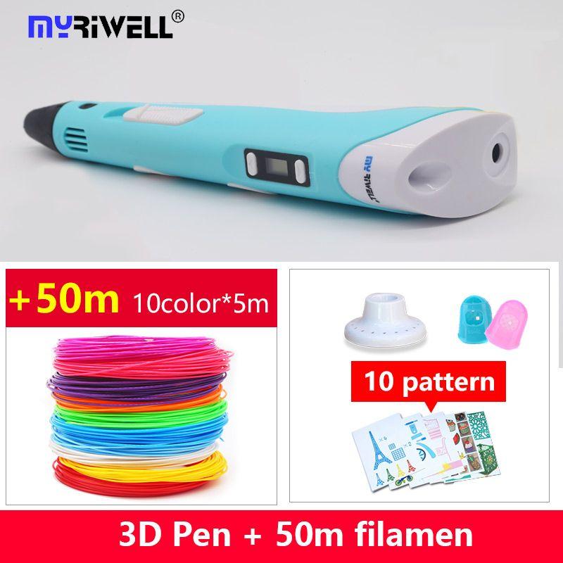 2018 Myriwell 3d stylo 3d stylos abs 1.75mm pla filament LED affichage 3d magic pen conçu pour enfants graffiti stylo 10 couleur 50 m