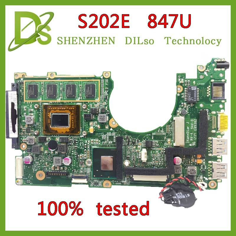 KEFU x202e Für ASUS S200E X202E X201E X202EP Vivobook motherboard REV2.0 Celeron Dual-Core 847cpu 2G RAM onboard 100% getestet