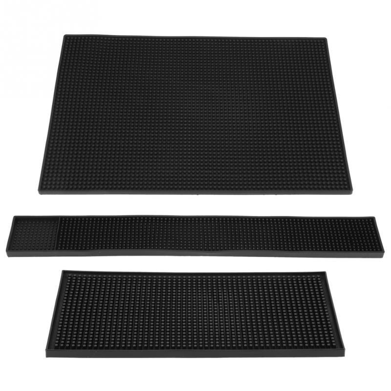 1pc Soft Black Color PVC Bar Mat Waterproof Coaster Kitchen Water Proof Mat Kitchen Glass Coaster Placemat