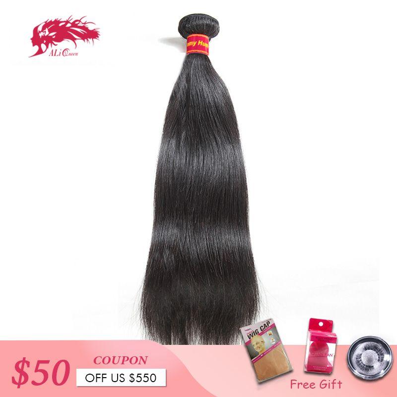 Brésilien cheveux raides armure 1/3/4 pièces naturel noir Remy cheveux livraison gratuite Ali reine cheveux produits 100% cheveux humains faisceaux
