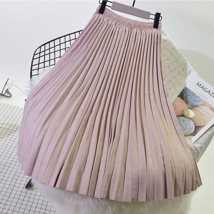 2019 deux couches automne hiver femmes daim jupe longue plissée jupes femmes Saias Midi Faldas Vintage femmes Midi jupe