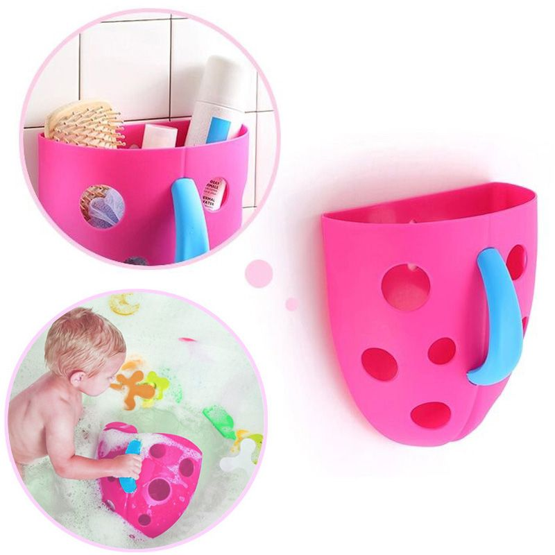 Security Plastic Baby Kids Bath Toy Organizer Scoop Storage Bin Toddler Baby Toy Hanging Organizer