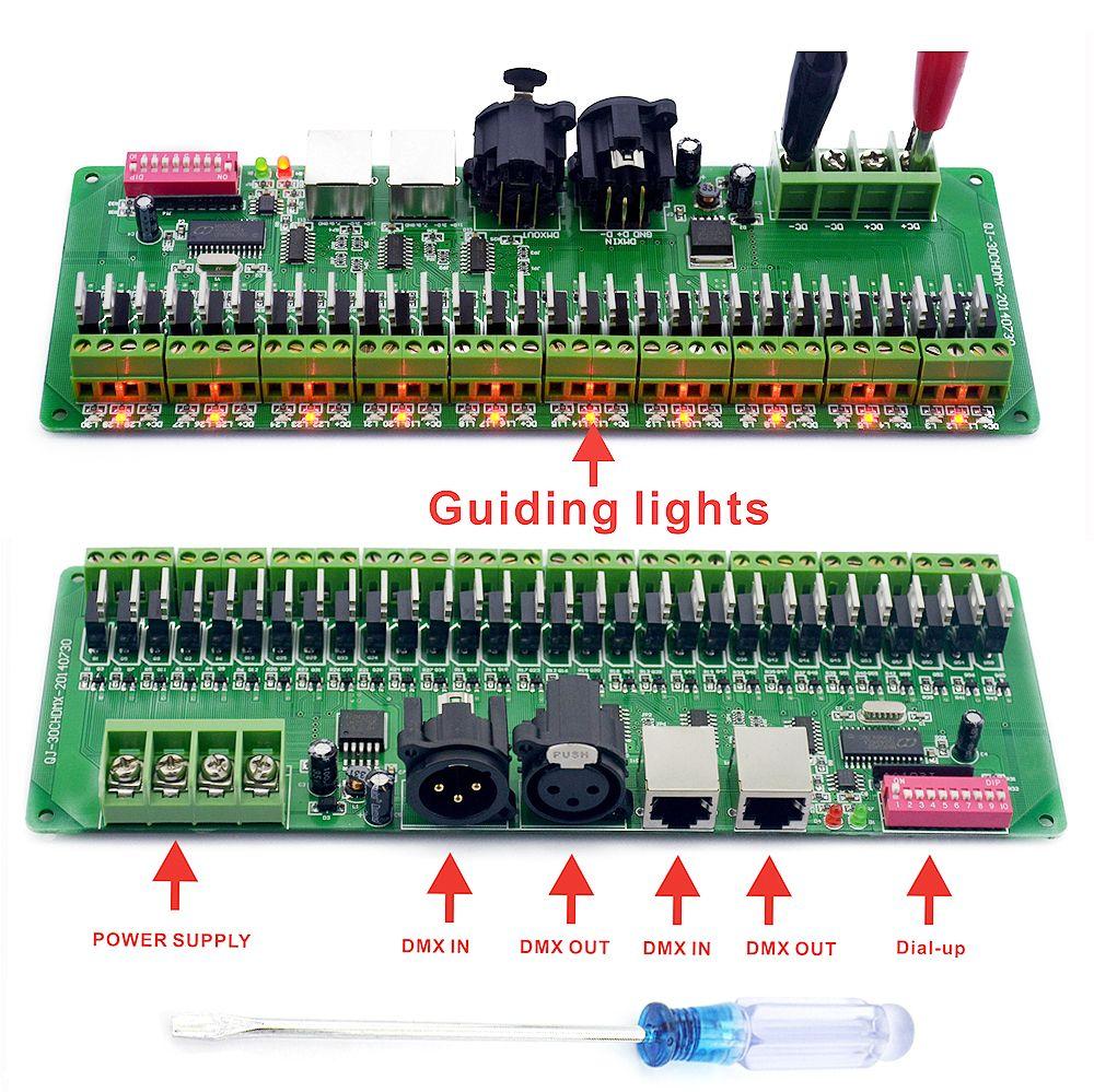 DMX Decoder 30 Channels RGB LED Strip Lights Driver DMX 512 Dimmer No Plastic Box DC 9V- 24V DMX512 Controller