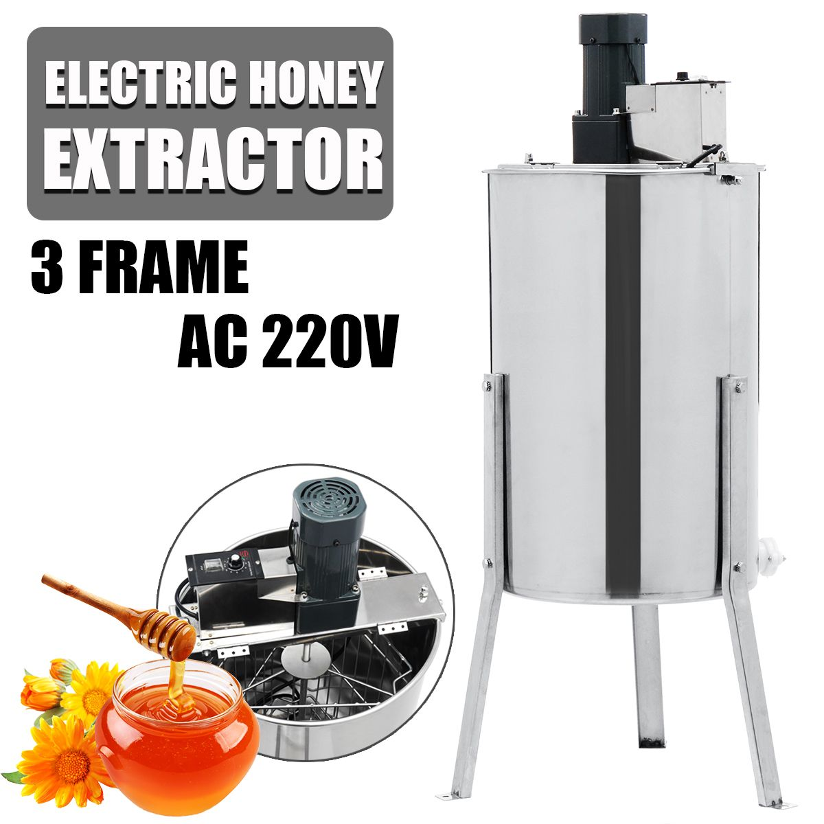 3 Frame Electric Honey Extractor Stainless Steel Beekeeping Machine Tool Box Honey Extractor Supplies Beekeeping Equipment