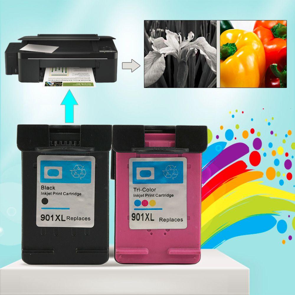 2pcs Sets For HP901 XL HP901 Color/black  Ink Cartridges For HP OfficeJet 4500 J4580 J4550 J4540 J4680 J4535 Printer