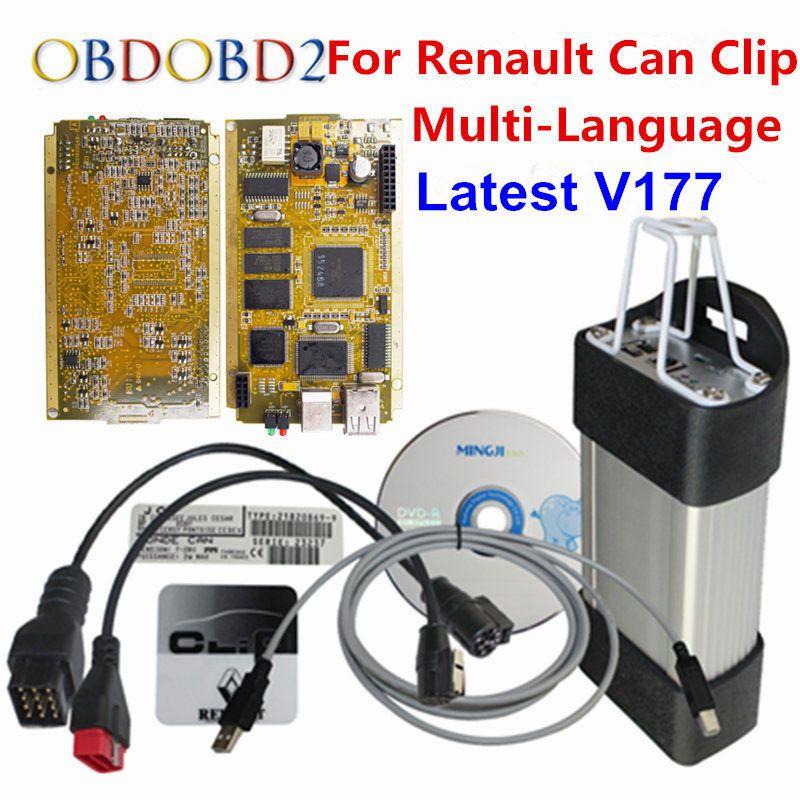 2017 For Renault Can Clip V177 Gold Full Chip SYPRESS AN2131QC Reprog V151 OBDII OBD2 Diagnostic Interface For Renault 1998-2017