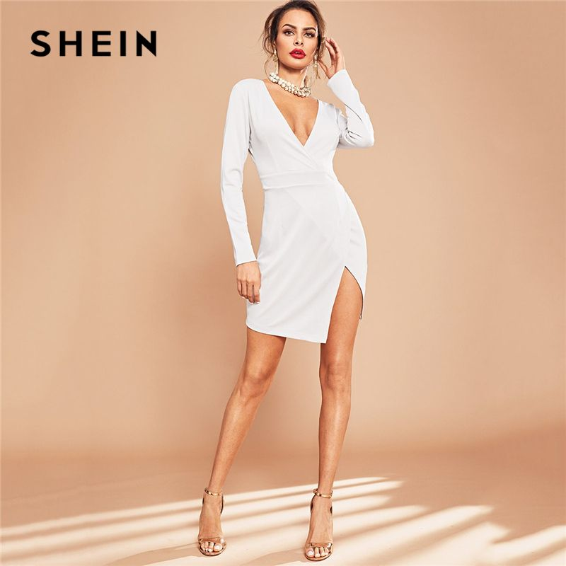 SHEIN Weiß Party Festes Plunge Neck Split Side Lange Hülse Wrap Kurze Kleid Herbst Sexy Elegante Frauen Kleider