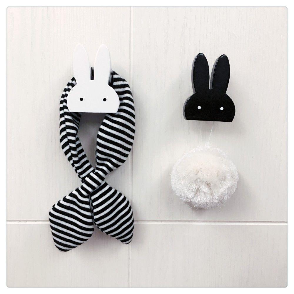 Conejo de madera bebé dormitorio decoración gancho estante mercancía en colgantes del conejito de la pared detrás de la puerta en la habitación de los niños decoración