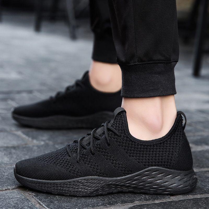 Respirant hommes baskets mâle chaussures adulte rouge noir de haute qualité hommes chaussures décontractées 2019 mode antidérapant maille hommes chaussures été nouveau