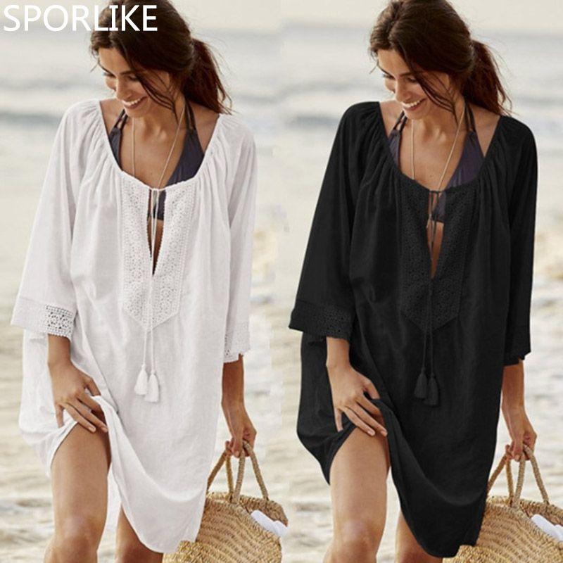 Bikini Vertuschen Spitze-höhle Crochet Quaste Badeanzug Strandkleid Frauen 2018 Sommer Damen Vertuschungen Badeanzug Strand tragen Tunika
