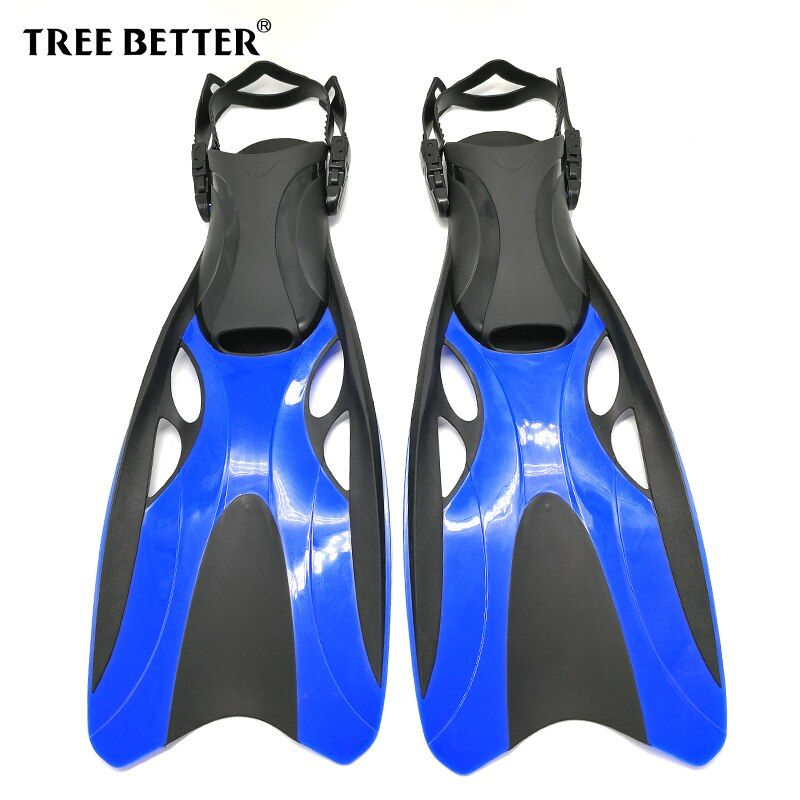TREE BETTER Swimming fins for Adults Professional Snorkeling Open heel Diving Fins long Flippers Submersible shoe Blue Gray S XL