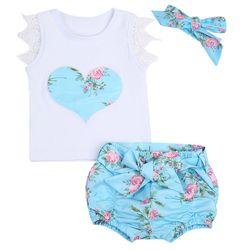 3 pcs/ensemble Nouveau-Né Bébé Filles Fleurs Gilet Top + Shorts Bas + Bandeaux D'été Dentelle Enfant Fille Vêtements Set 0-3 T