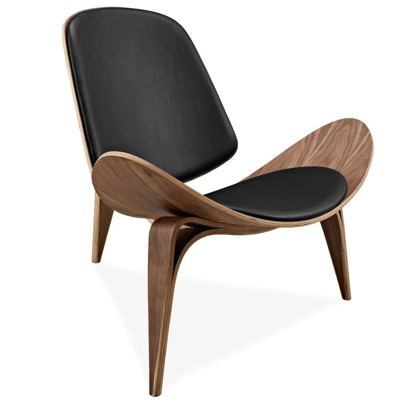 Hans Wegner Style Three-Legged Shell Chair Ash Plywood Black Faux Leather Living Room Furniture Modern Shell Chair Replica