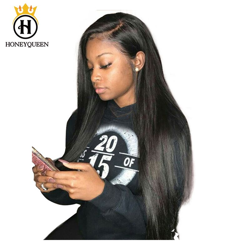 Pre Plucked Full Lace Human Hair Wigs Straight 180% Density Glueless Brazilian Full Lace Wig With Baby Hair Honey Queen Remy