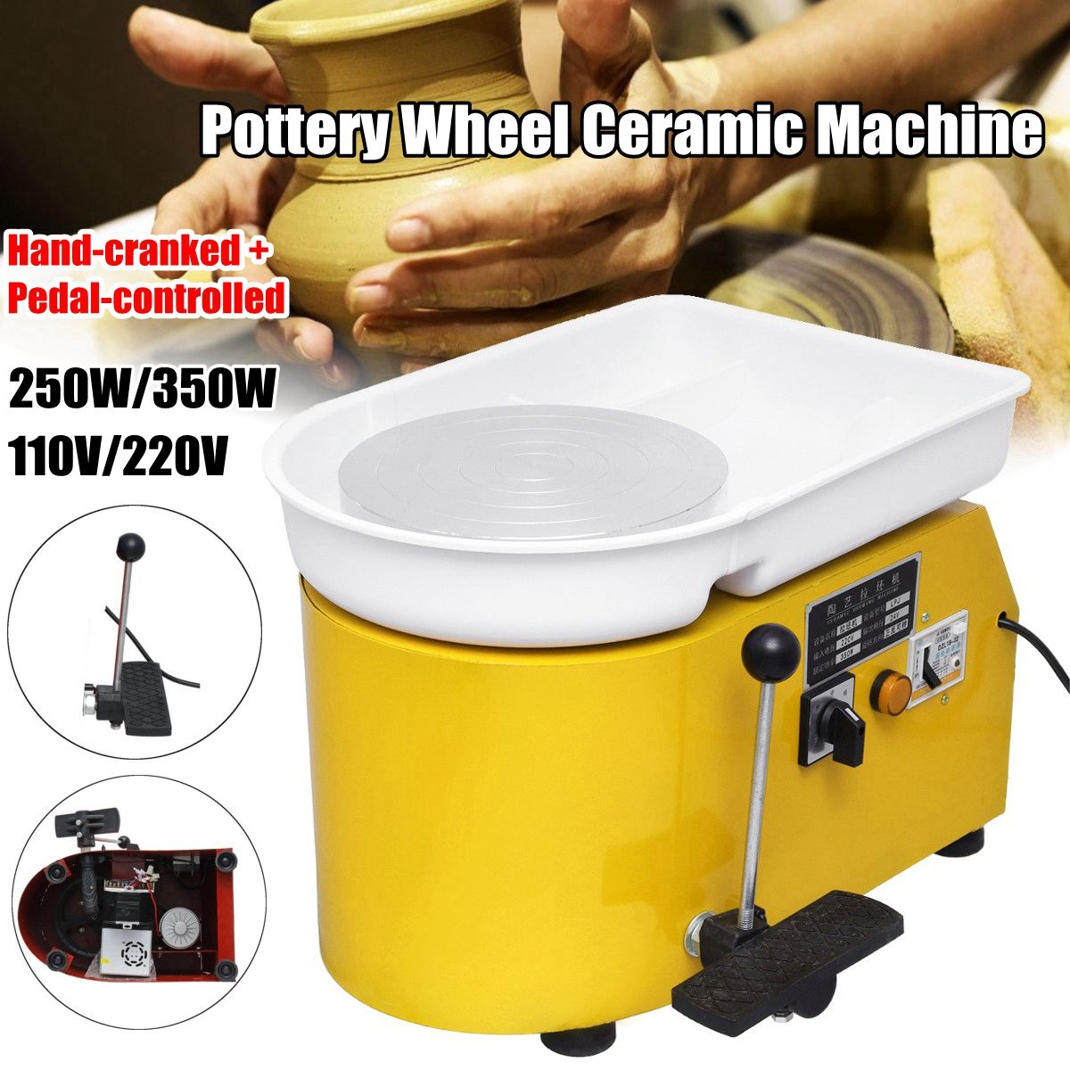 110V/220V Pottery Forming Machine 250W/350W Electric Pottery Wheel DIY Clay Tool with Tray For Ceramic Work Ceramics