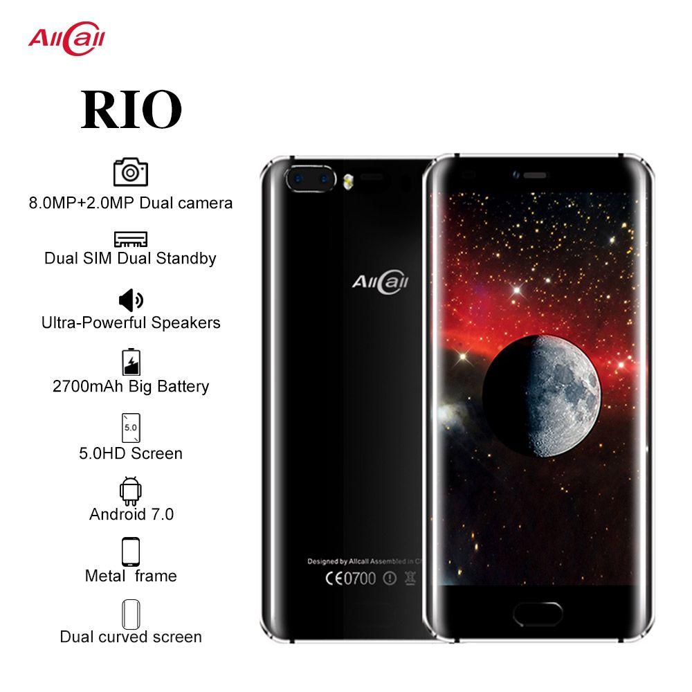 D'origine Allcall Rio 5.0 pouces IPS arrière cames Android 7.0 Smartphone MTK6580A Quad Core 1GB RAM 16GB ROM 8.0MP OTG 3G téléphone portable