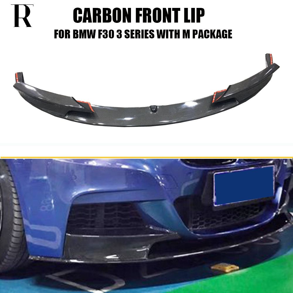 F30 P Style Carbon Fiber Front Bumper Lip Chin Spoiler for BMW F30 3 Series 320i 328i 335i 328d 4DR with M Package 2012 - 2017