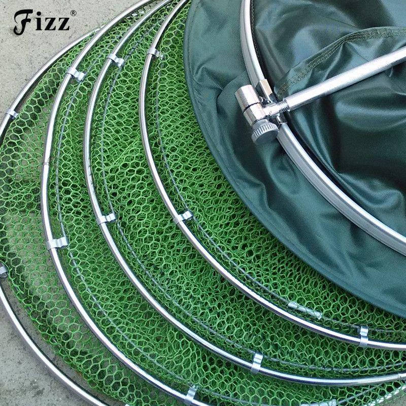 Double Stainless Steel Rings 5 Layers Collapsible Fish Care Net Folding Shrimp Minnow Fishing Bait Trap Dip Net Cage 50kg Load