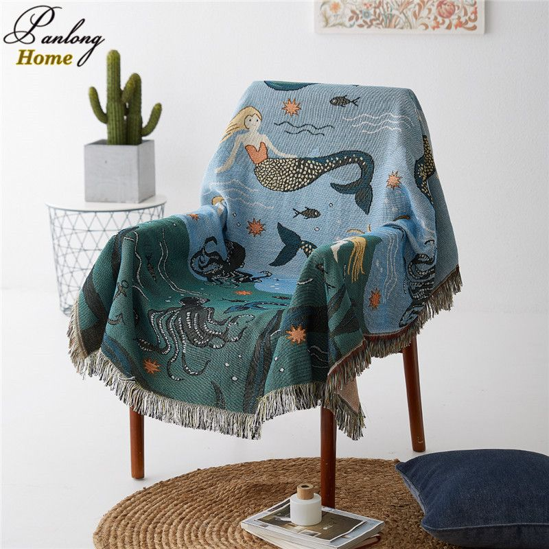 PanlongHome Mermaid Sofa Towel / Blanket Living Room Carpet Bedside Decorative Blanket Bed Cover 160*260cm