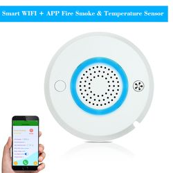 Smart WIFI + APP Fire Smoke & Temperature Sensor Wireless Smoke Temperature Detector Home Security Alarm System