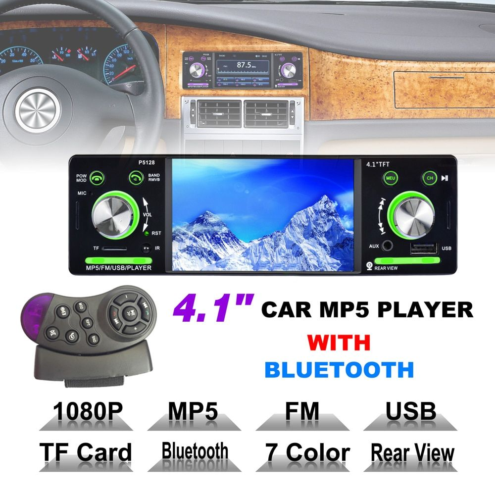 4.1 Inch 1 Din HD Bluetooth Car Stereo Radio Auto MP3 MP5 Music Player Support USB FM TF AUX + Steering Wheel Remote Control
