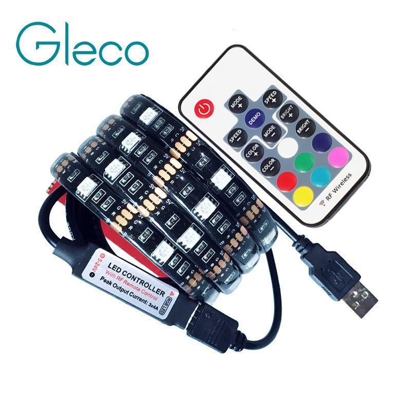DC5V USB светодиодный полосы 5050 RGB Гибкие Light 1 м 2 м ТВ Задний план Освещение RGB светодиодный полосы клея Клейкие ленты ip20/IP65 водонепроницаемый
