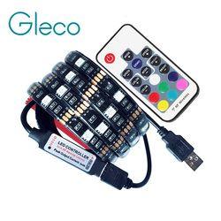 DC5V USB LED Strip 5050 RGB Flexible Light 1 M 2 M TV Latar Belakang Lampu RGB LED Strip Pita Perekat IP20/IP65 Tahan Air