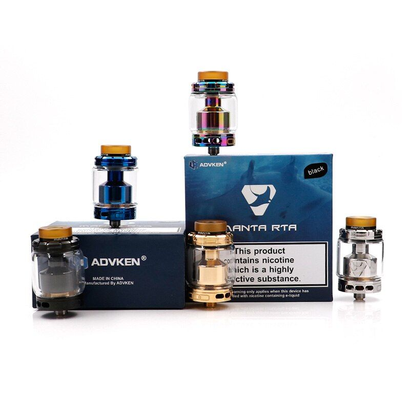 Original Advken MANTA RTA Tank 5ml Capacity Top Filling 810 Drip Tip manta atomizer with 24mm Diameter Advken manta RTA tank