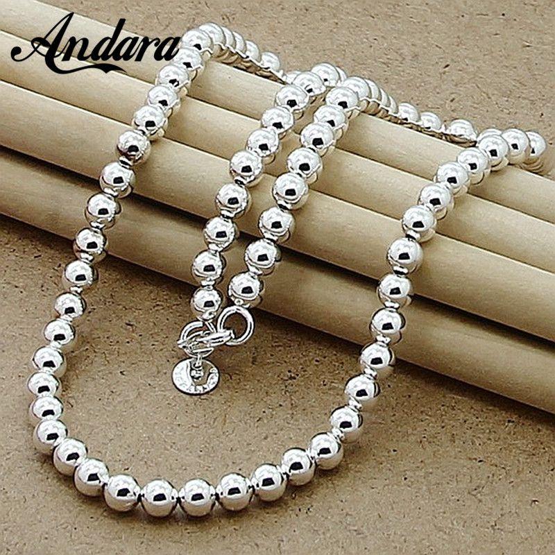 Nouvelle Marque De Mode 6mm Ronde collier en perles 925 Argent collier Livraison Gratuite bijoux fins N016