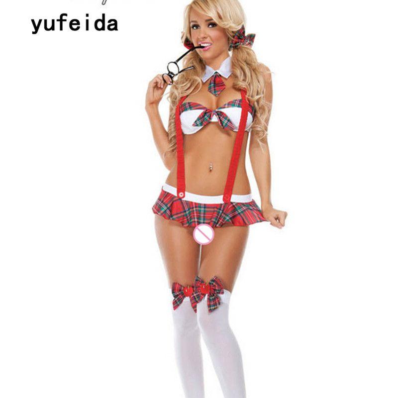 YUFEIDA Sexy école fille Costume femmes Lingerie robe Halloween fête adulte vilain étudiant Cosplay uniforme tenue ensemble
