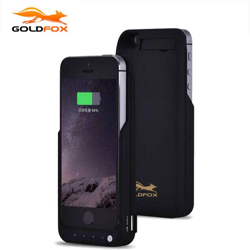 GOLDFOX 4200 mAh Portable De Sauvegarde Externe Chargeur de Batterie Cas avec USB Port Puissance Banque De Charge Housse Pour iPhone 5 5S SE