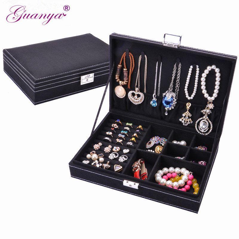 guanya brand Fashion jewelry Accessories box plate stud earring earrings storage case ring wedding birthday <font><b>gift</b></font> Free shipping