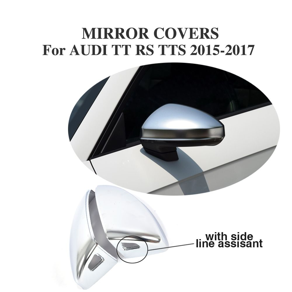 Matt alu alloy ABS Side Door Rearview Mirror Covers Replacement Type for Audi TT MK3 8S 15-17 with side lane assist hole