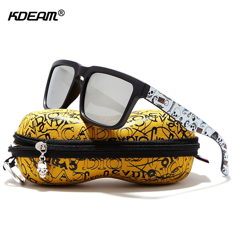 KDEAM Eye-catching Function Polarized Sunglasses For Men Matte Black Frame Fit. Painting Temples Play-Cool Sun Glasses With Case
