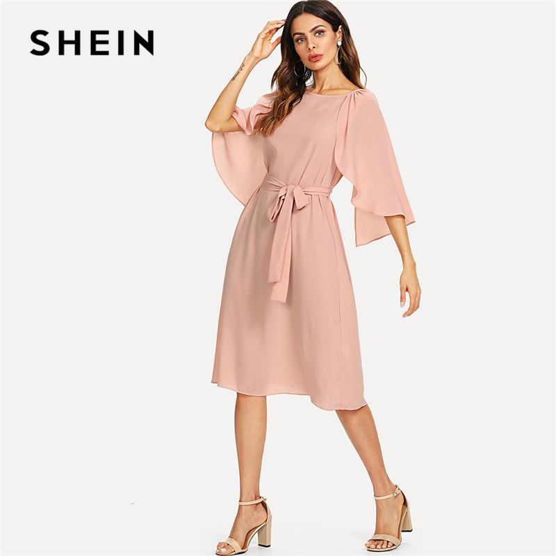 SHEIN Pink Elegant Cloak Sleeve Self <font><b>Belted</b></font> Knot Front Round Neck Natural Waist Knee Length Dress Summer Women Casual Dresses