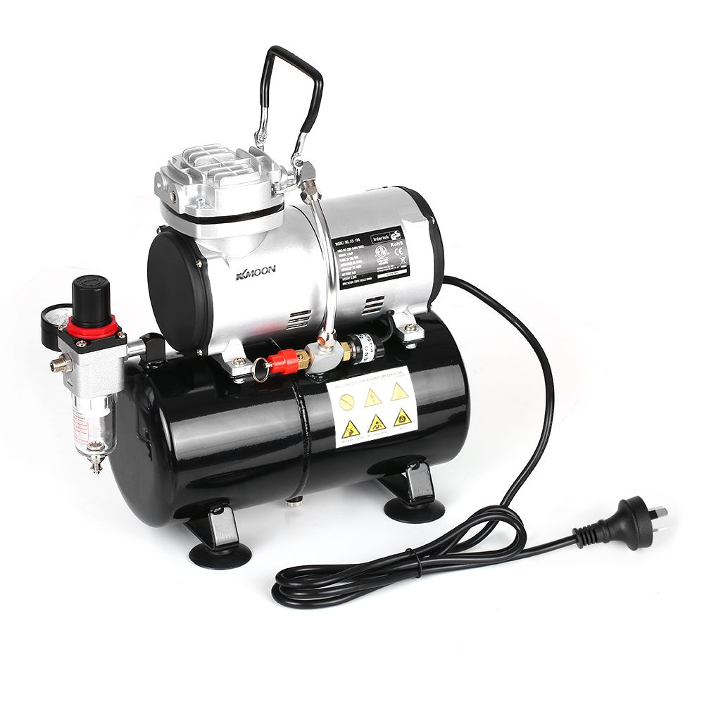 KKmoon Spraying Air Compressor with Tank 1/6 HP Piston Airbrush Compressor Oil-less Quiet High-pressure Pump Tattoo Manicure
