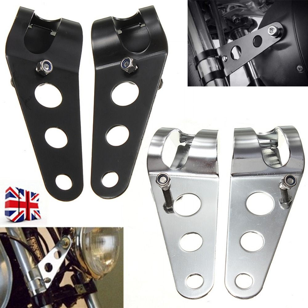 Black/Chrome Headlight Mount Bracket For Motorcycles Fork Bobber Racer 35mm-43mm